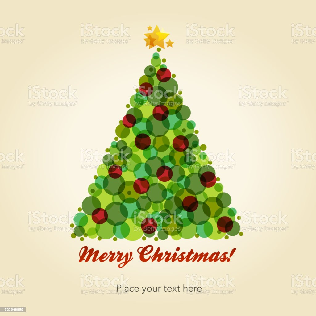 Christmas tree postcard vector art illustration