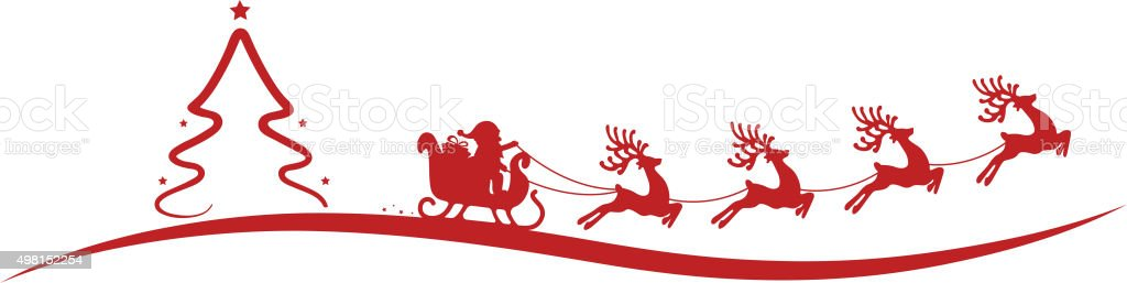 christmas tree santa claus reindeer sleigh red vector art illustration