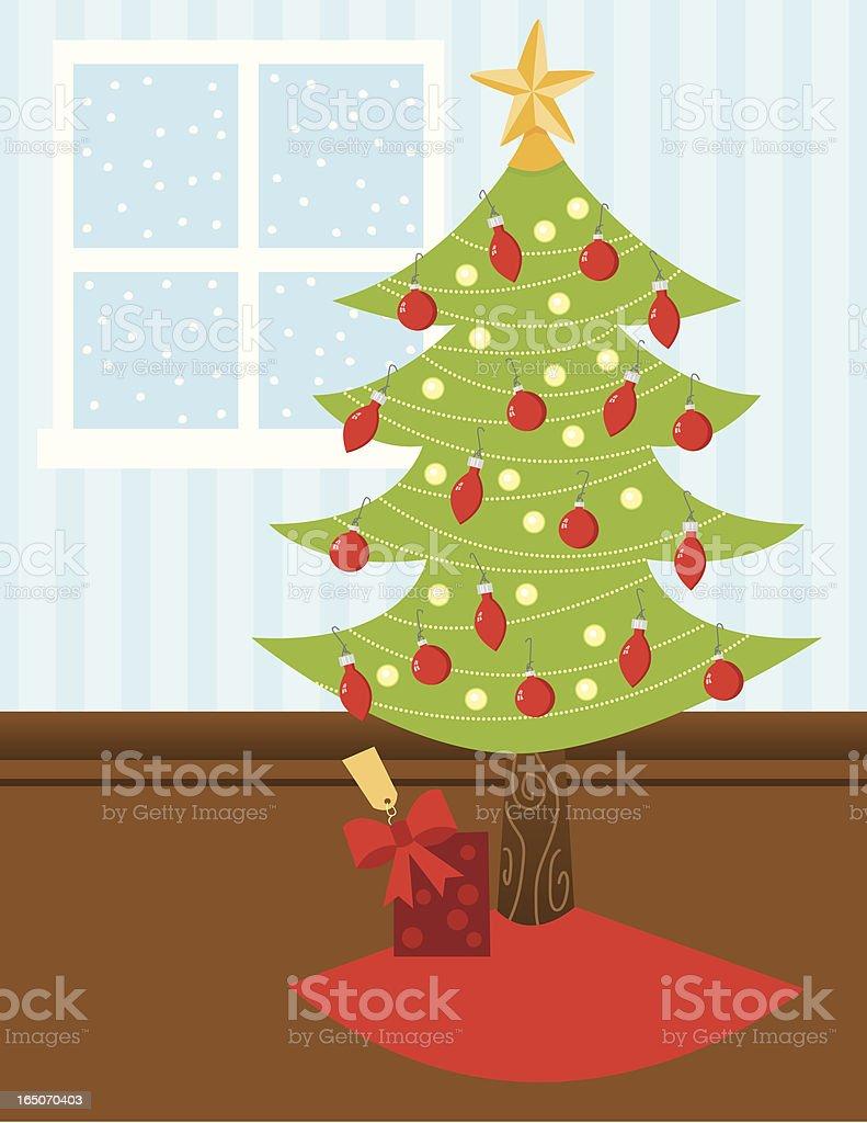 Christmas Tree Scene vector art illustration