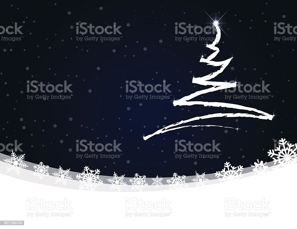 Christmas tree scribbled on dark night winter background with snow vector art illustration