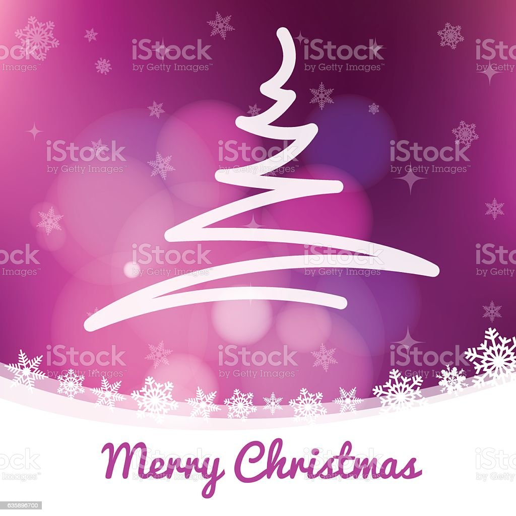 Christmas tree scribbled on magenta winter landscape with snow crystals vector art illustration