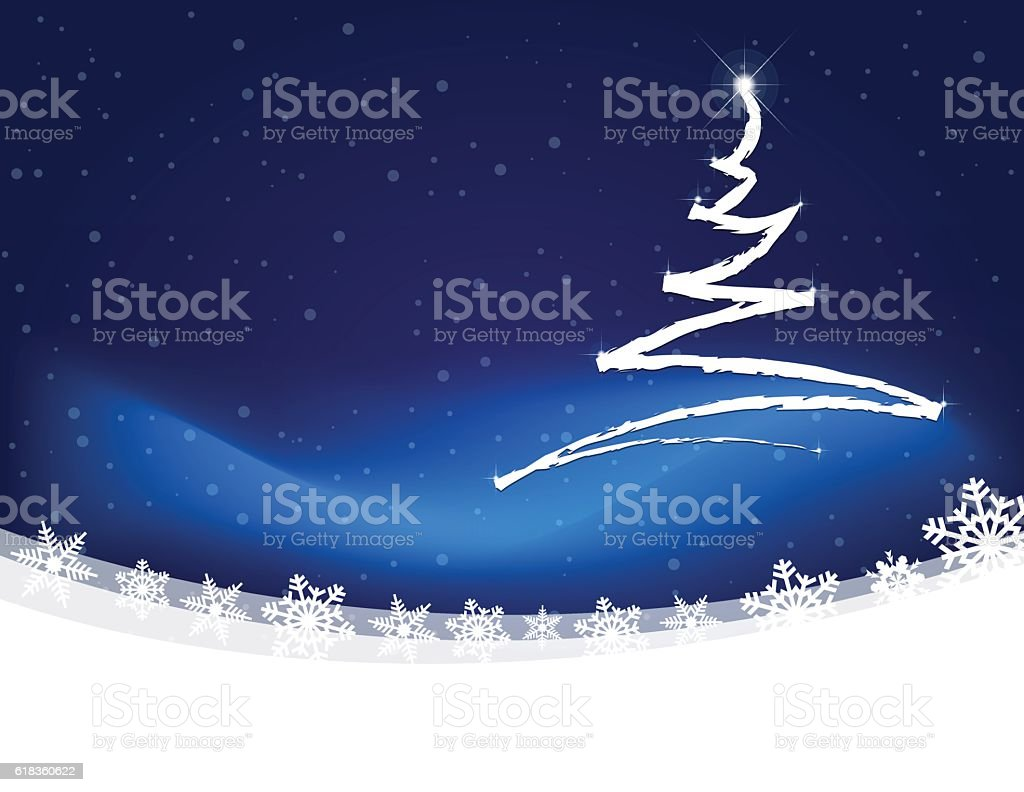 Christmas tree scribbled on snowy winter landscape with snow flakes vector art illustration