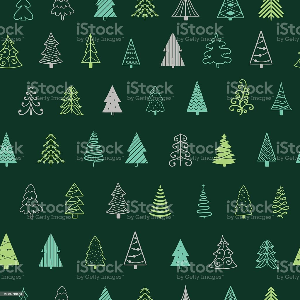 Christmas tree seamless pattern for Christmas holidays and New Year vector art illustration