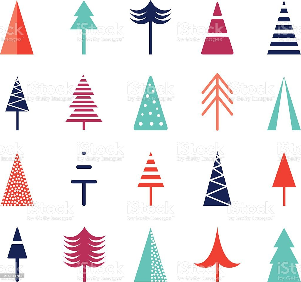 Christmas tree set. Icons for web vector art illustration