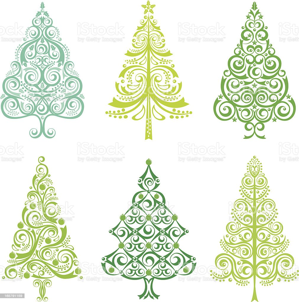 Christmas Tree Set royalty-free stock vector art