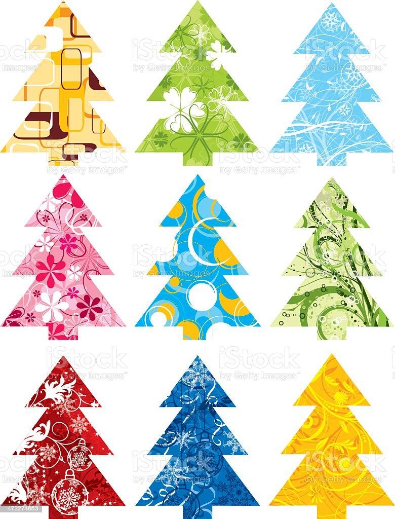 Christmas tree set royalty-free stock vector art