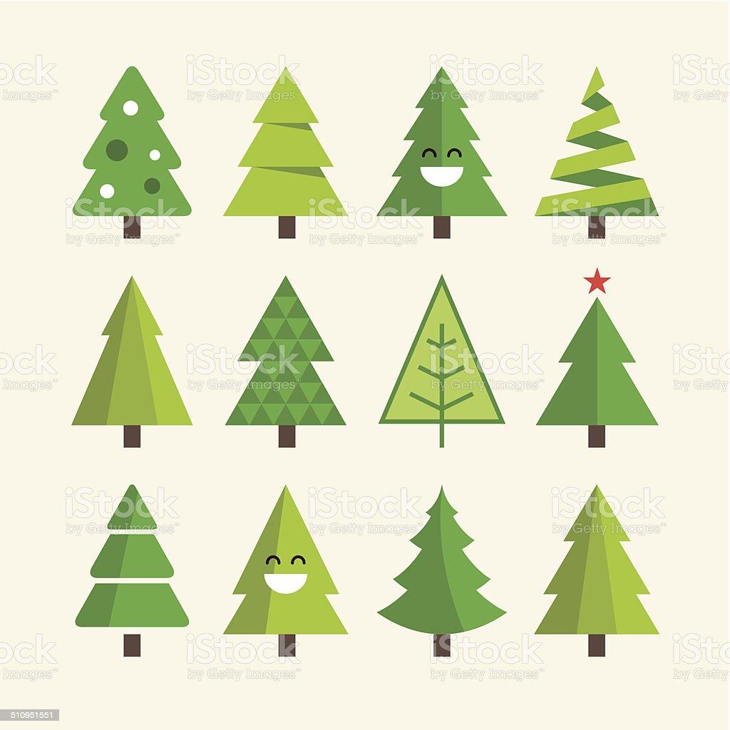 Christmas tree set vector art illustration