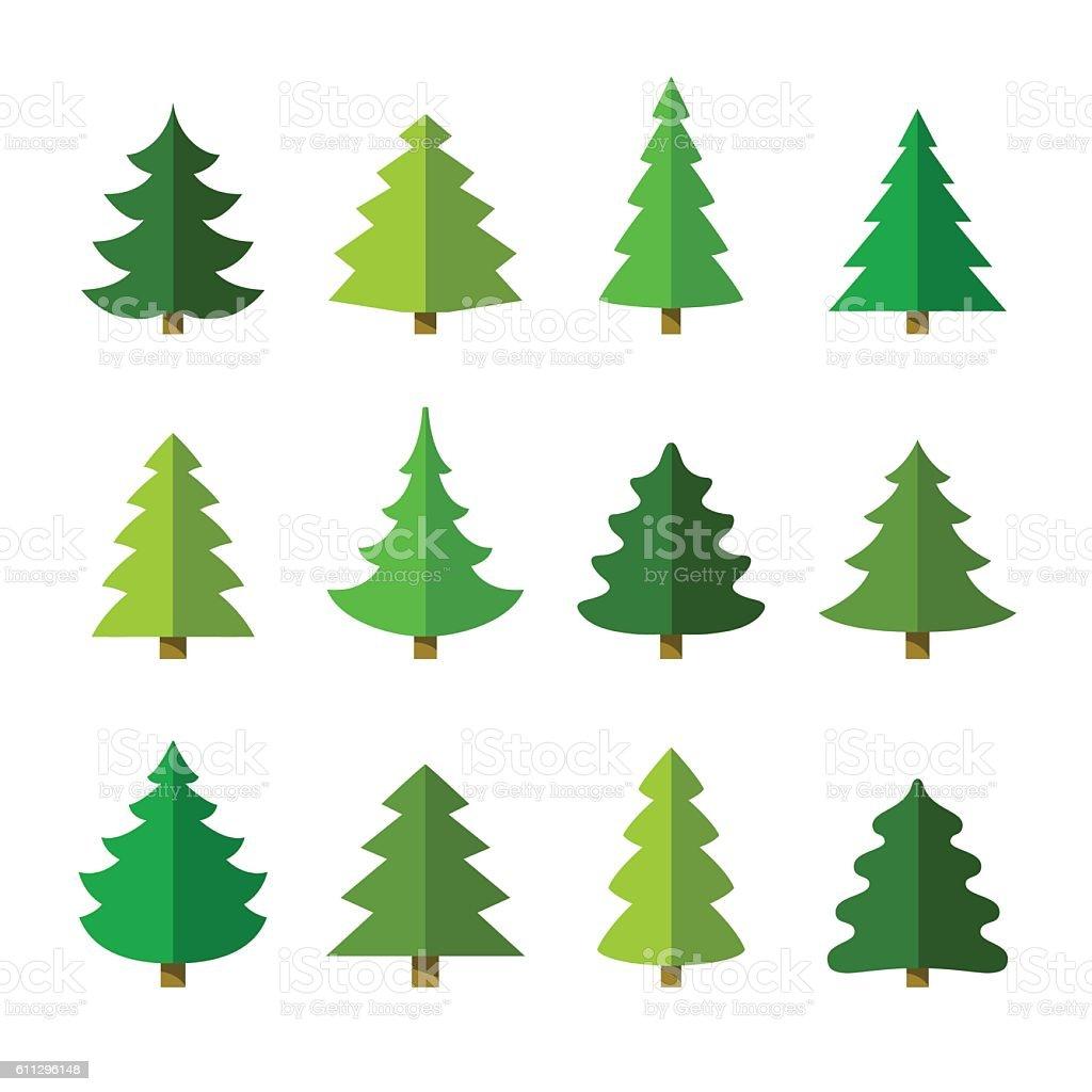 Christmas tree set. vector art illustration
