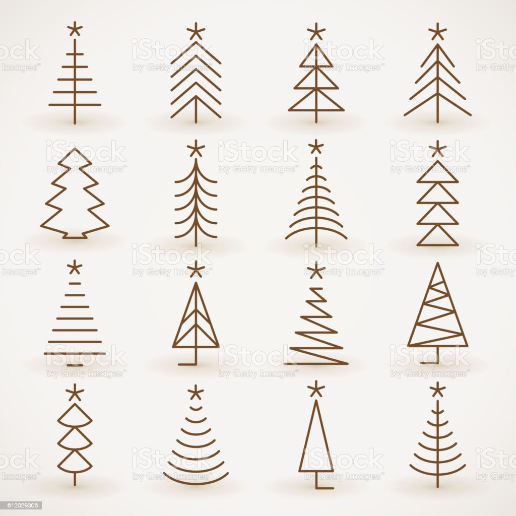 Christmas tree set vector art illustration