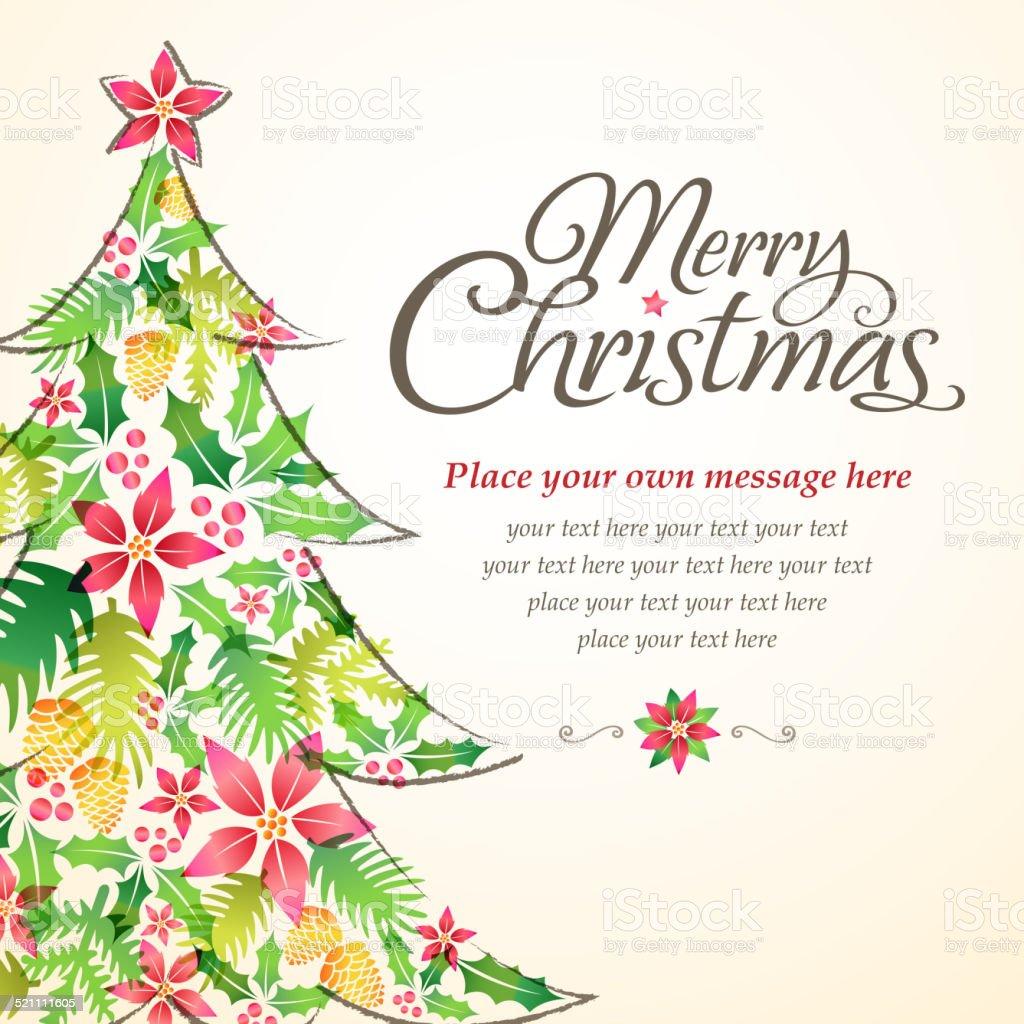 Christmas Tree Shape form Floral Element vector art illustration