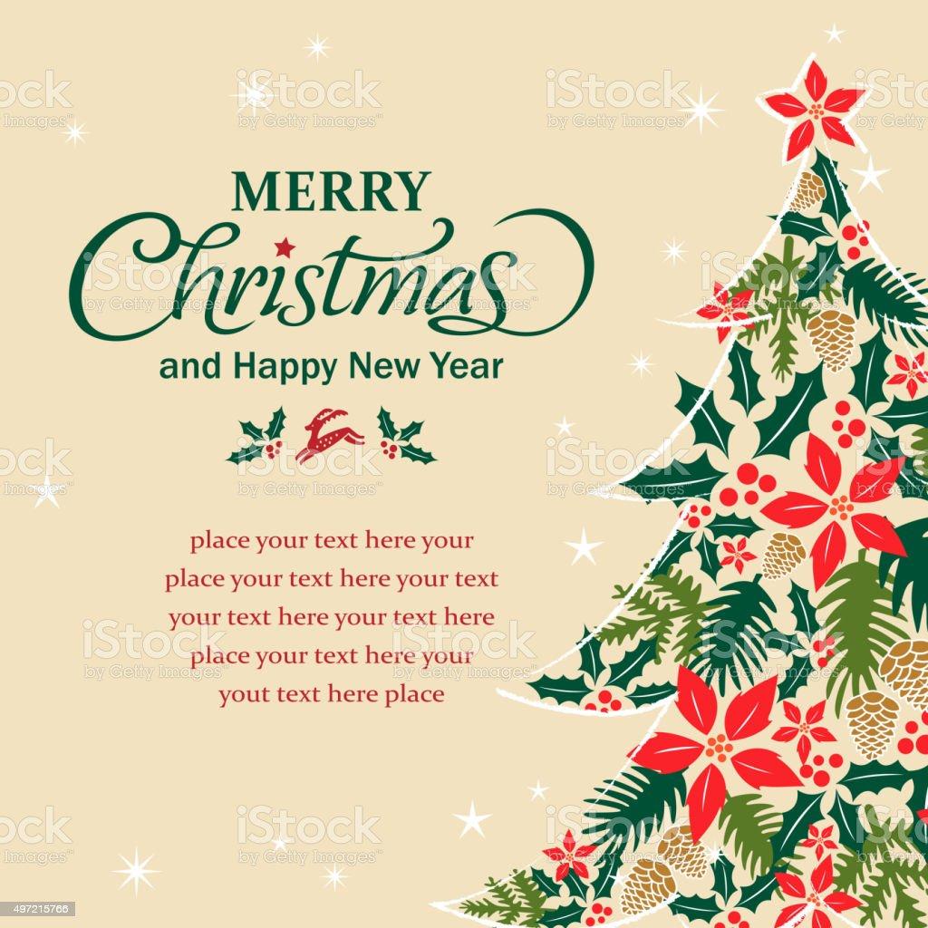 Christmas tree shape form floral elements vector art illustration