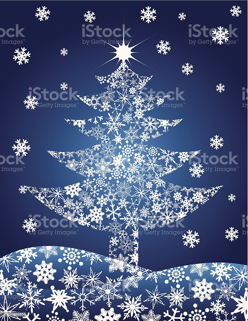 Christmas Tree Silhouette with Snowflakes Vector Illustration royalty-free stock vector art