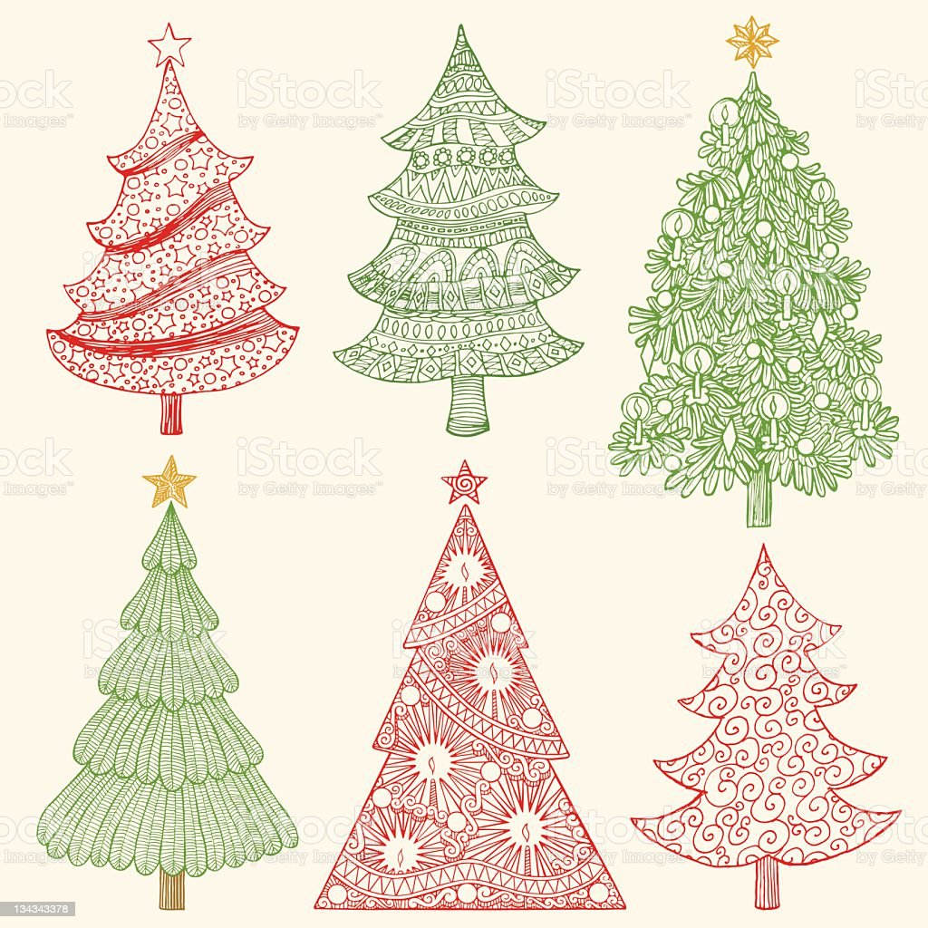 Christmas Tree Sketches stock photo