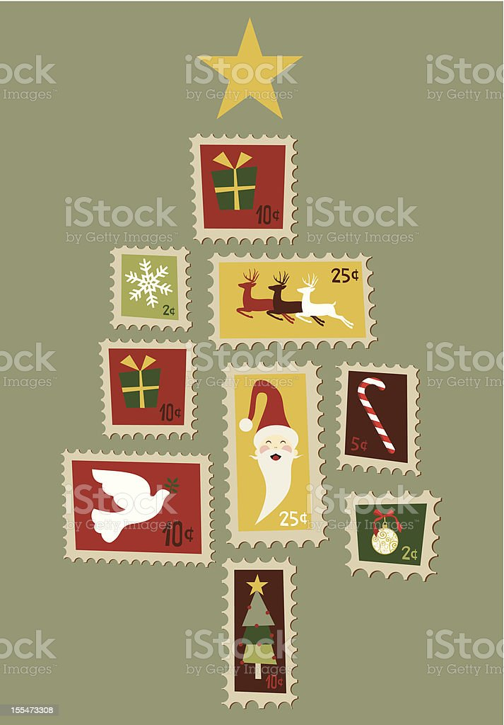 Christmas tree stamp greeting card royalty-free stock vector art