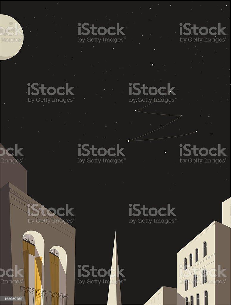 christmas tree stellar constellation in town royalty-free stock vector art
