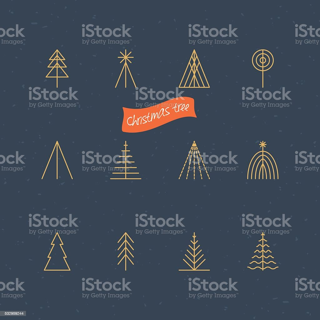 Christmas tree thin line icons for design vector art illustration
