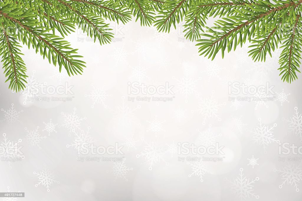 Christmas tree top frame isolated on silver blurred background vector art illustration