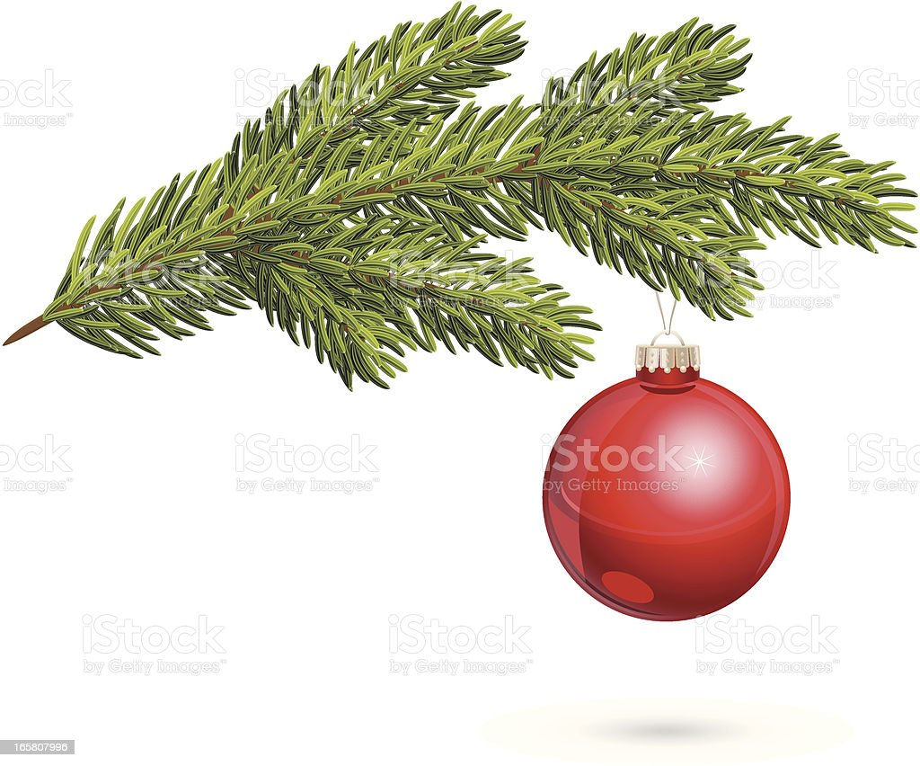 Christmas tree twig with red bauble vector art illustration
