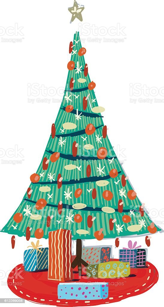 christmas tree vector art illustration