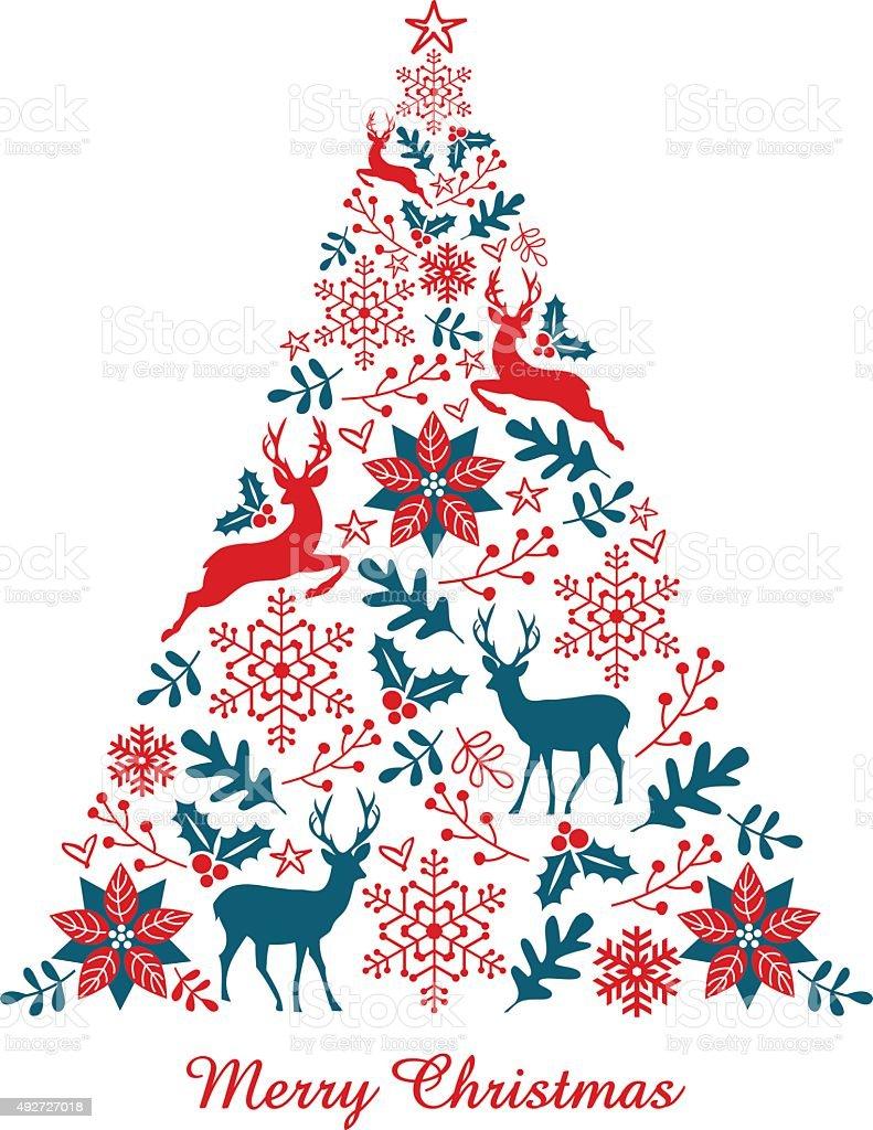 Christmas tree, vector vector art illustration