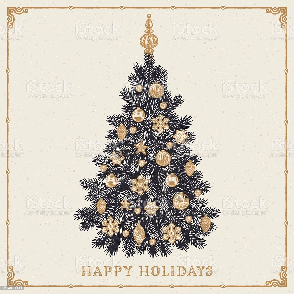 Christmas tree. Vintage greeting card with Happy Holidays inscription vector art illustration
