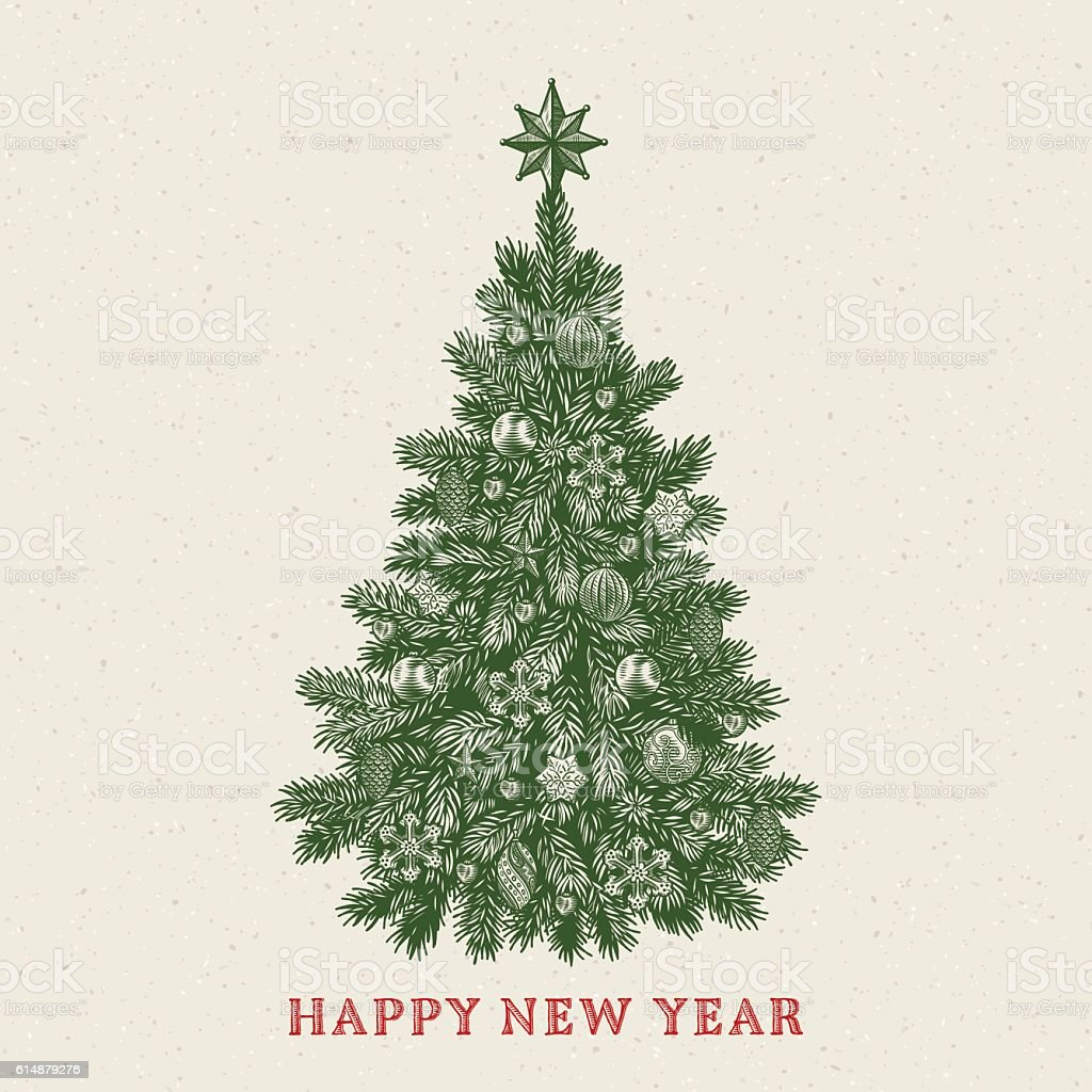 Christmas tree. Vintage greeting card with New Year inscription vector art illustration