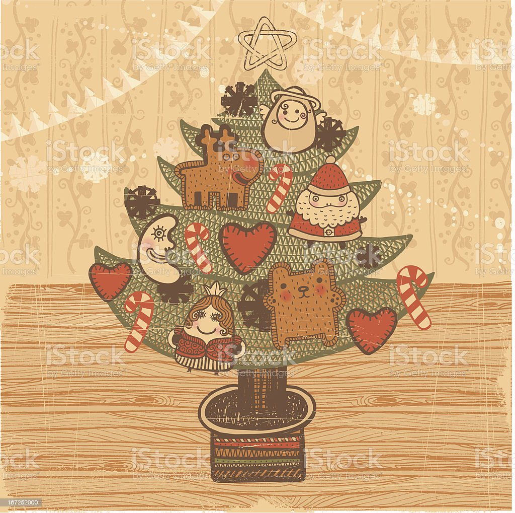 Christmas tree vintage style vector art illustration