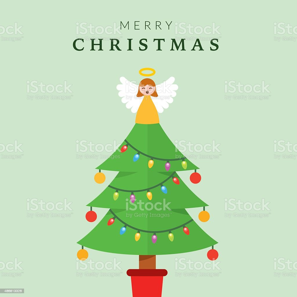 Christmas Tree with Angel vector art illustration