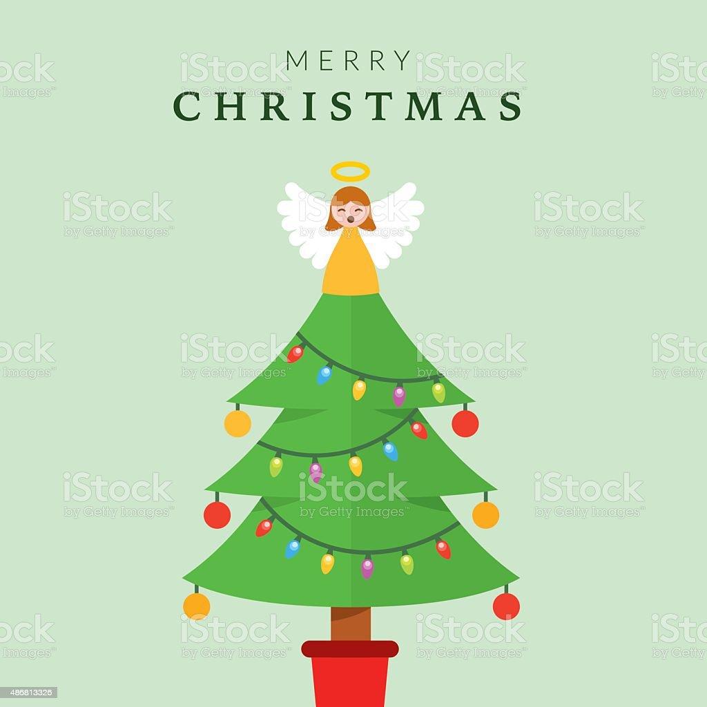 Christmas Tree with Angel vector art illustration