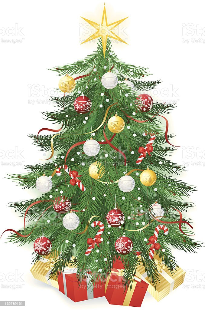 Christmas Tree with baubles and presents on white royalty-free stock vector art