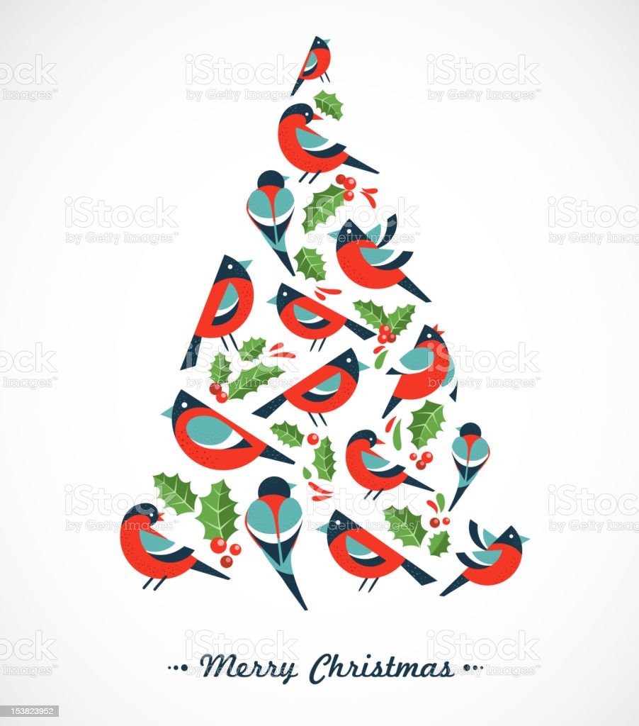 Christmas tree with birds and holly leafs vector art illustration