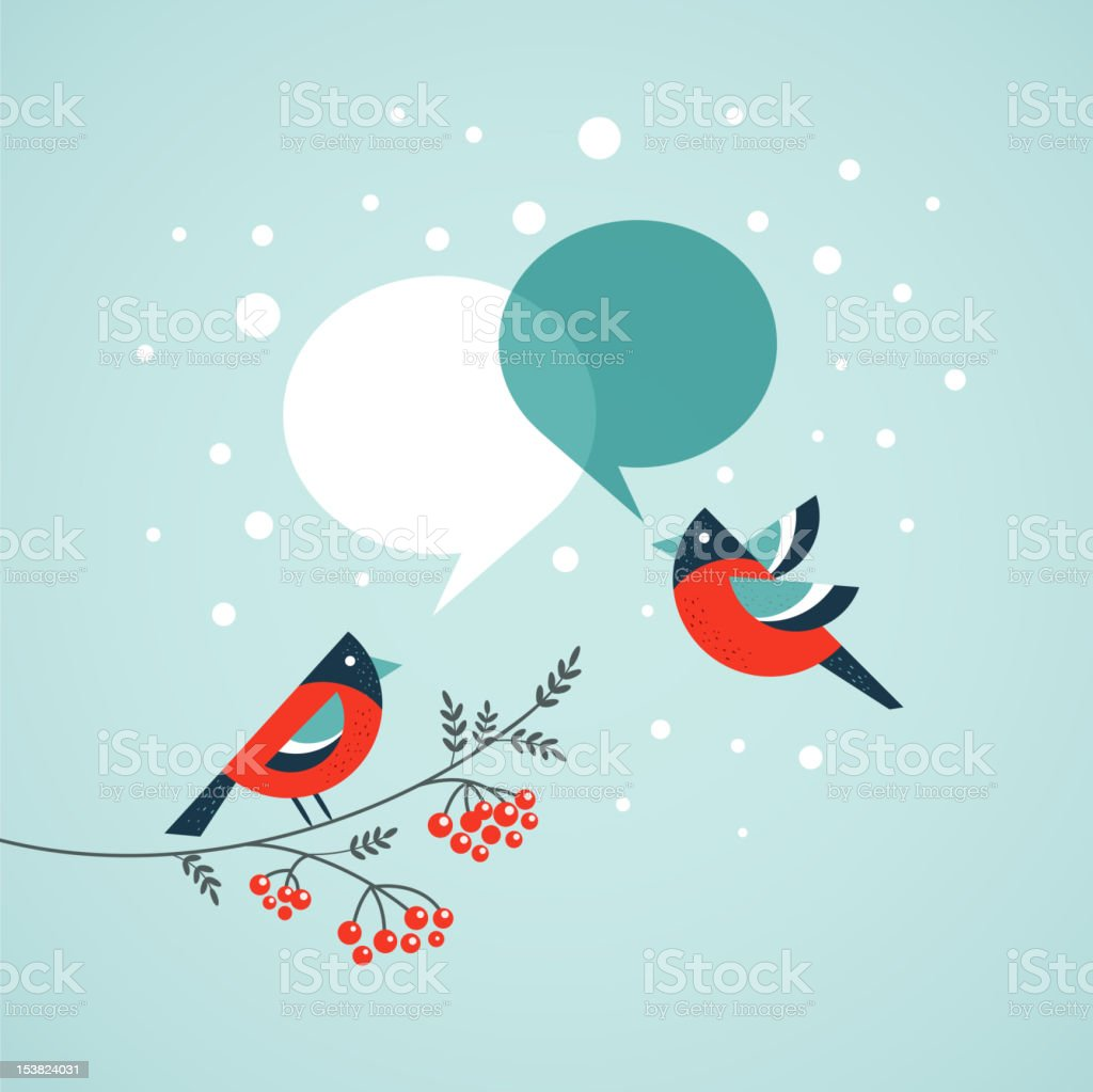 Christmas tree with birds and speech bubbles vector art illustration