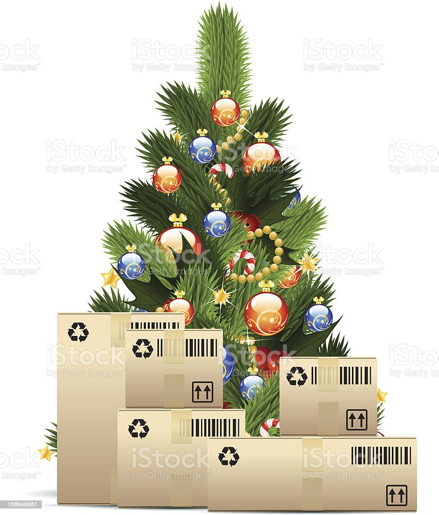 Christmas Tree with  Cardboard Boxes royalty-free stock vector art