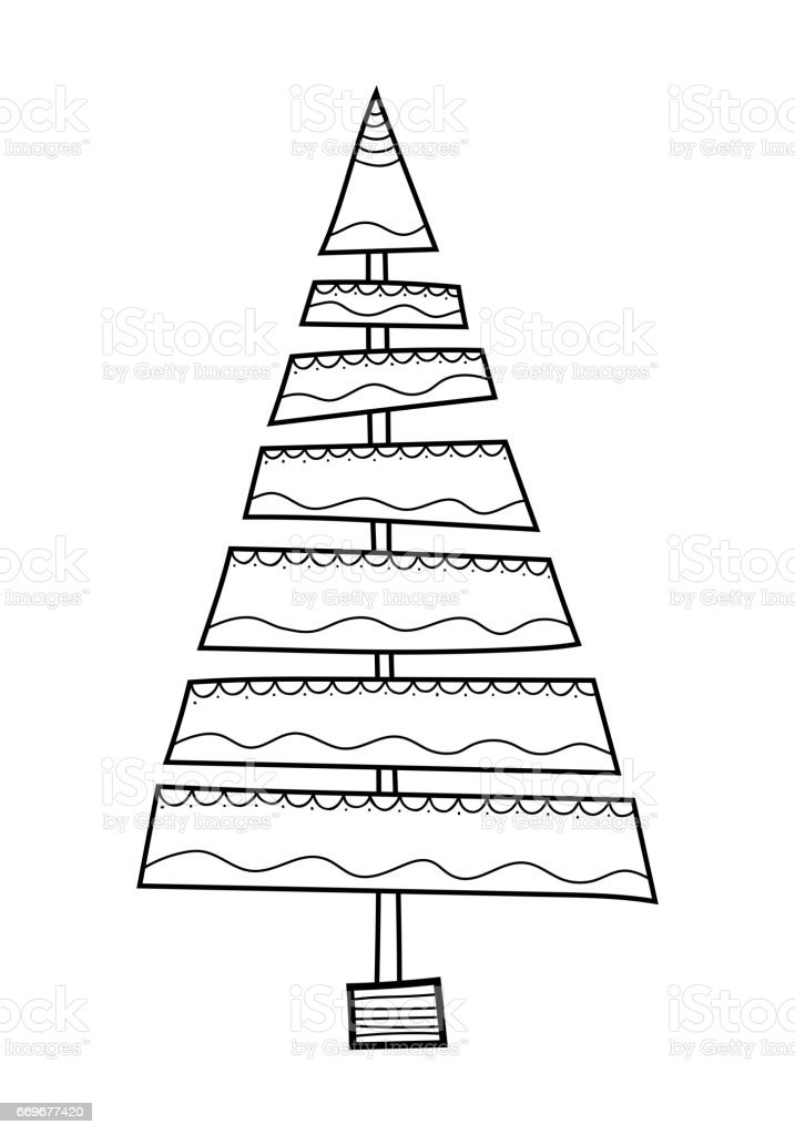 Christmas Tree With Decorative Patterns Black And White Illustration For Coloring Book Pages Royalty