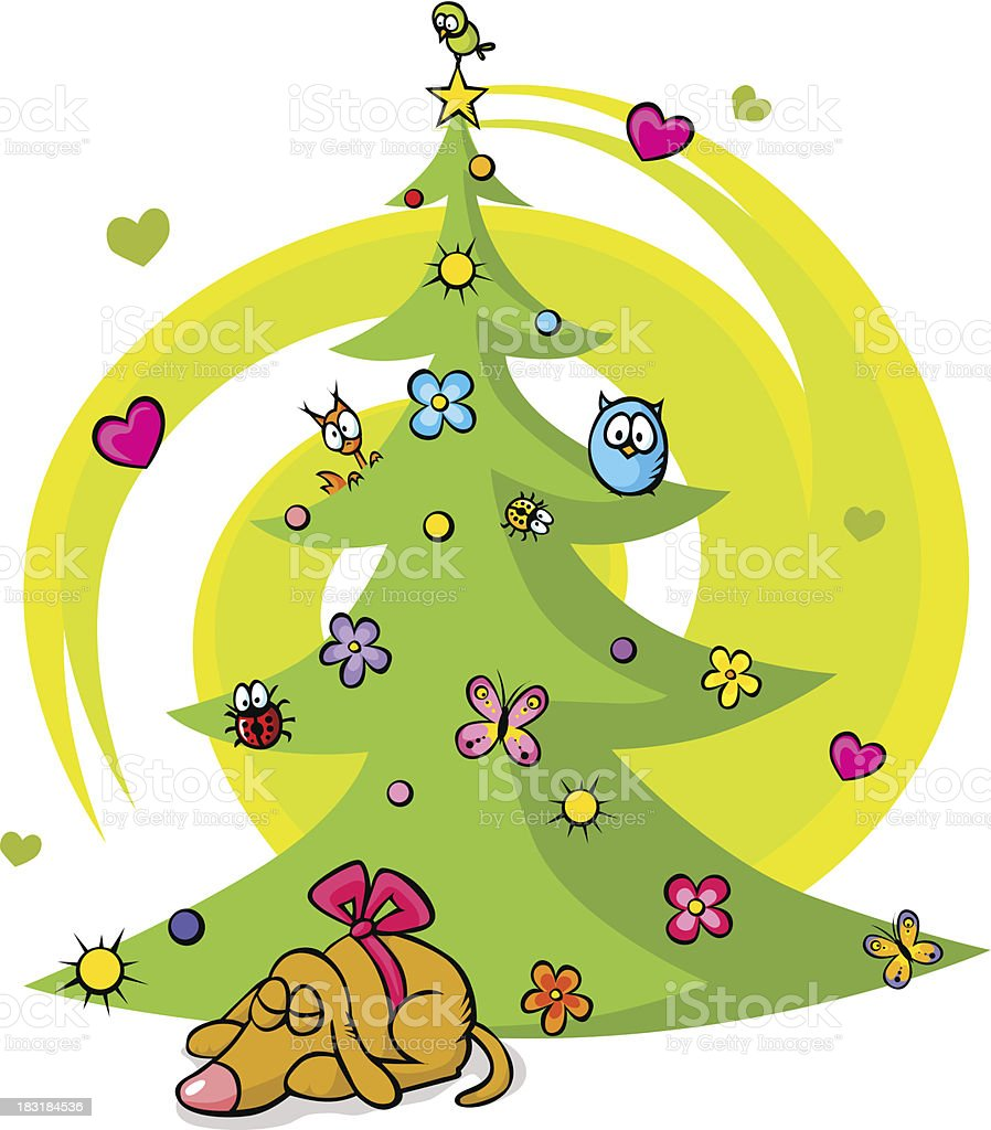 christmas tree with dog, bird, flower, star and butterfly royalty-free stock vector art