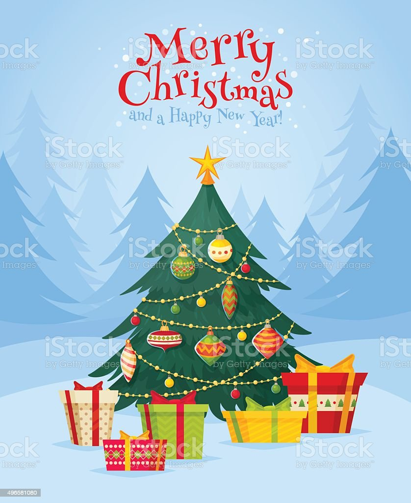Christmas tree with gifts vector art illustration