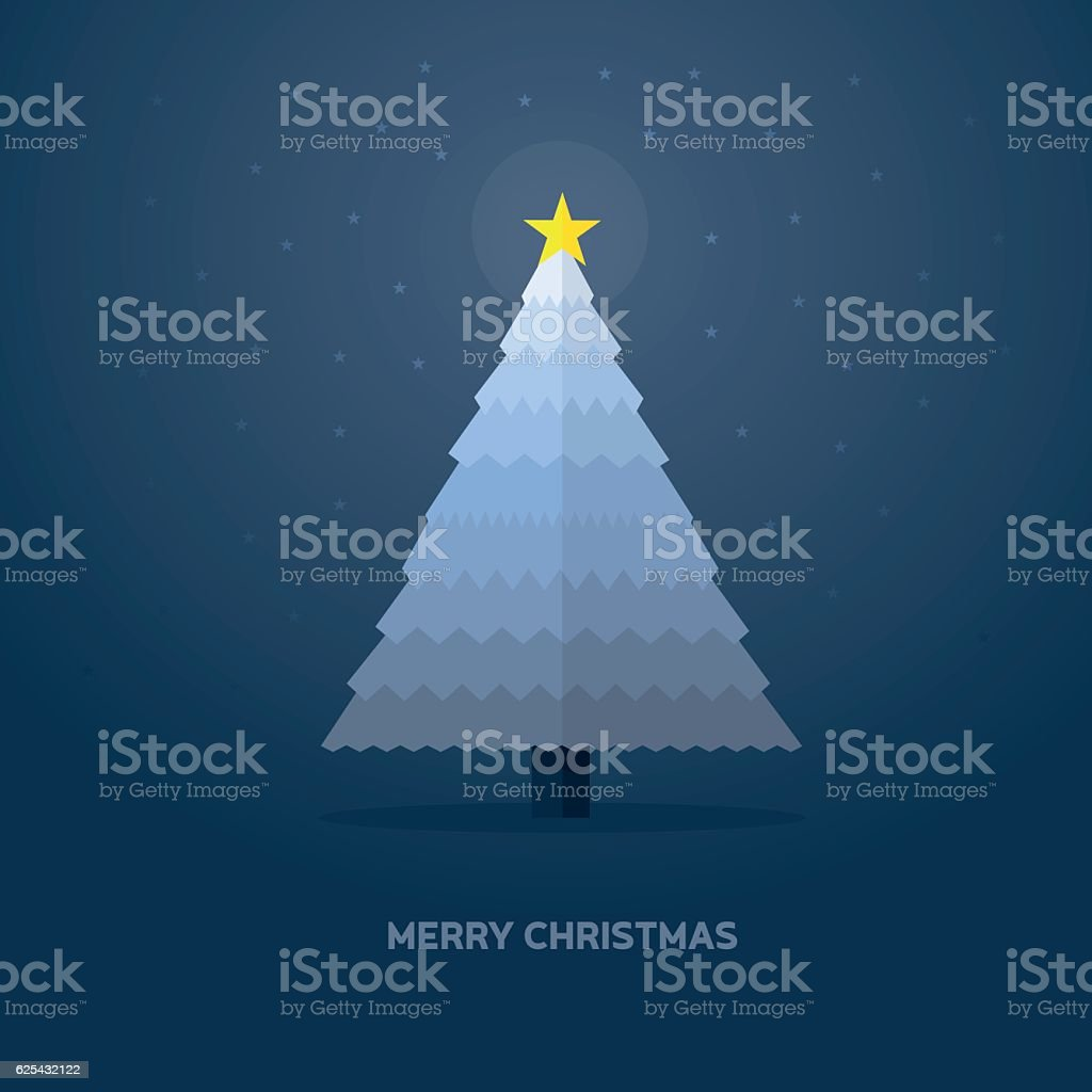 christmas tree with star - flat vector Illustration vector art illustration