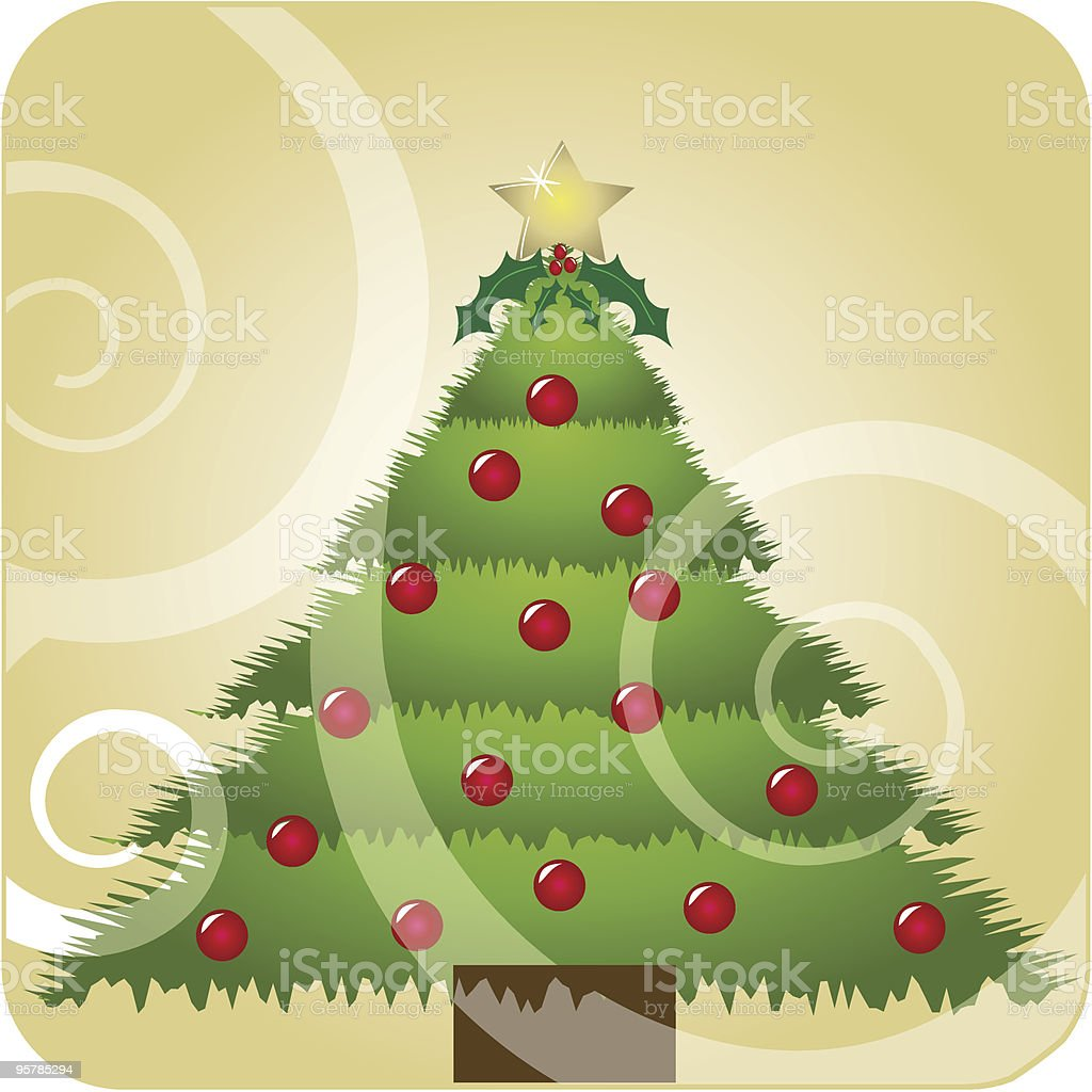 Christmas tree with swirls royalty-free stock vector art