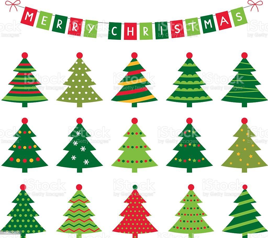 Christmas trees and banner vector set vector art illustration