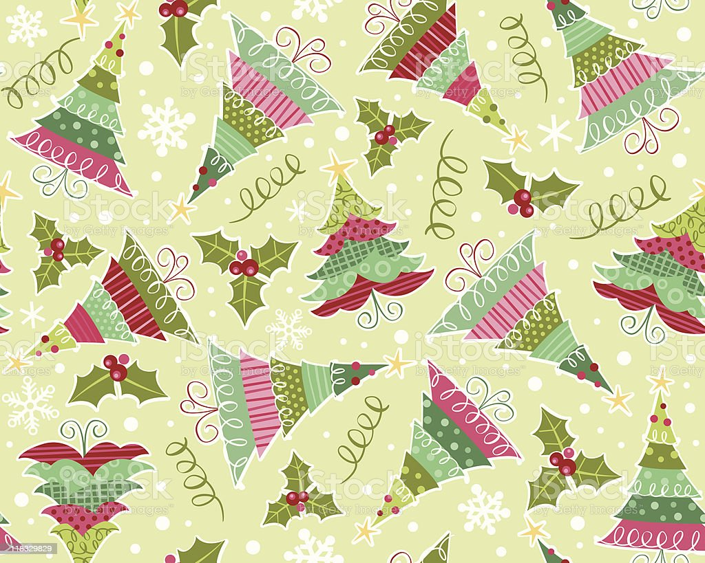 Christmas Trees and holly in a seamless pattern vector art illustration