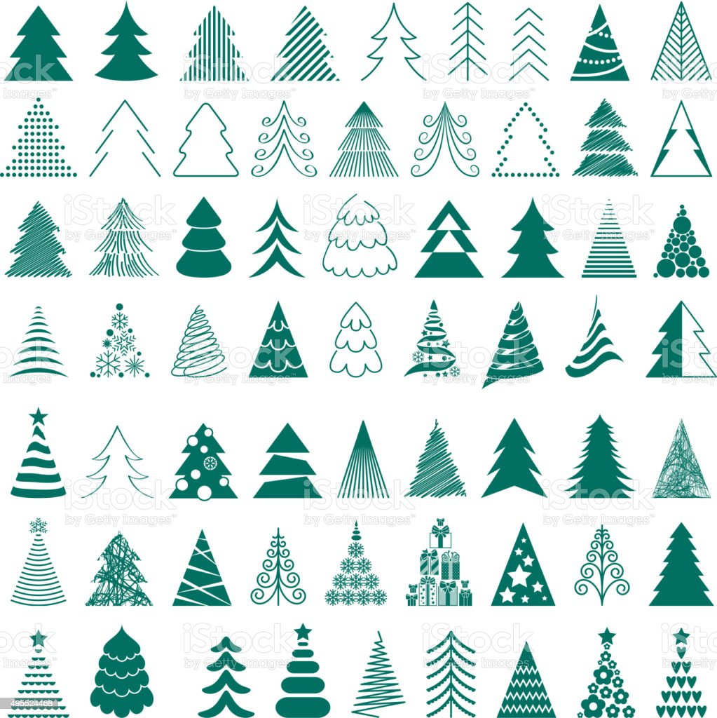 Christmas trees icons big set vector illustration vector art illustration