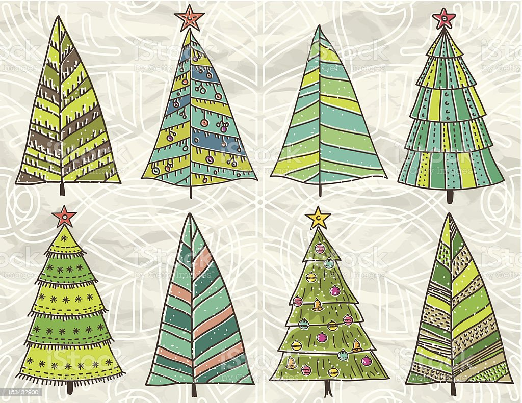 christmas trees  on beije crumple background royalty-free stock vector art