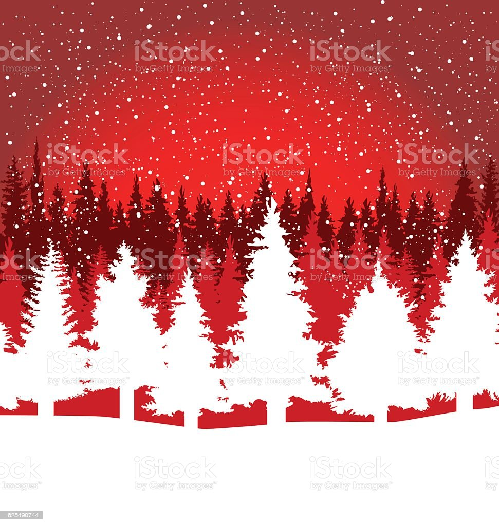 Christmas trees red and white background vector art illustration