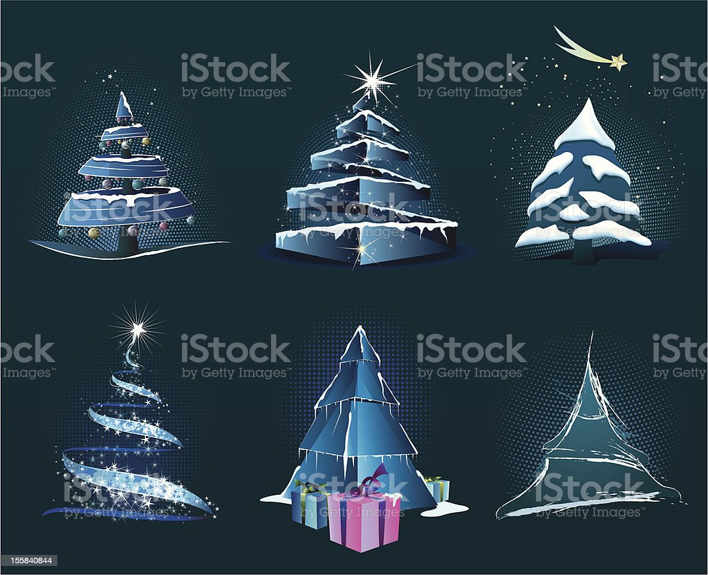 Christmas trees royalty-free stock vector art