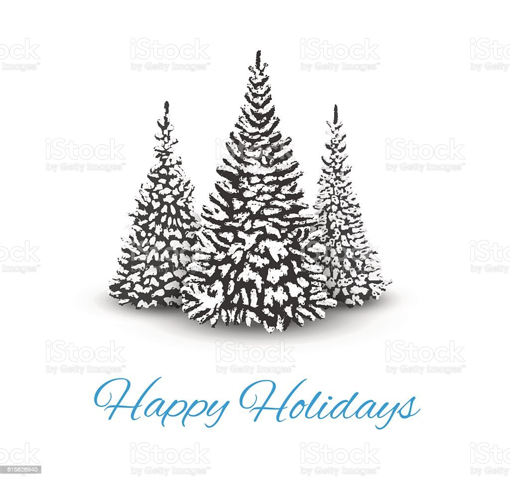 Christmas Trees with Text Happy Holidays vector art illustration