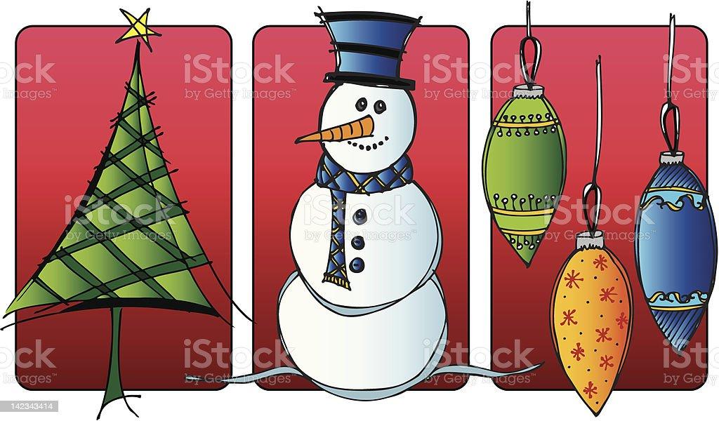 Christmas Trio Vinette - Tree, Snowman and Ornamental Balls royalty-free stock vector art