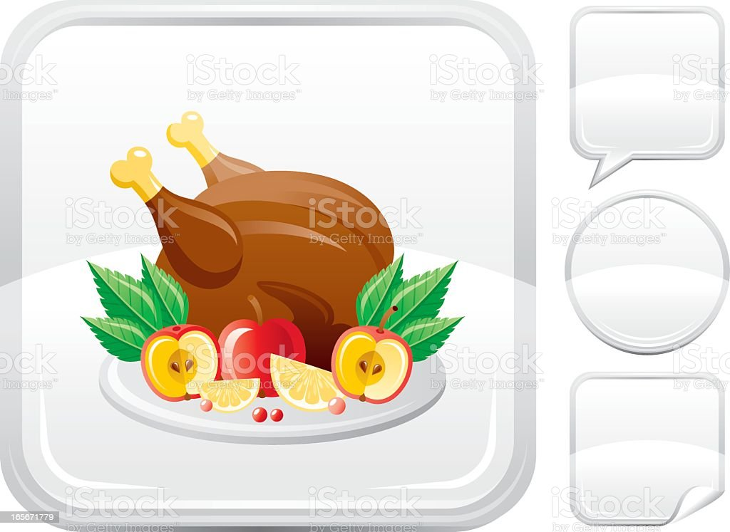 Christmas turkey icon on silver button vector art illustration