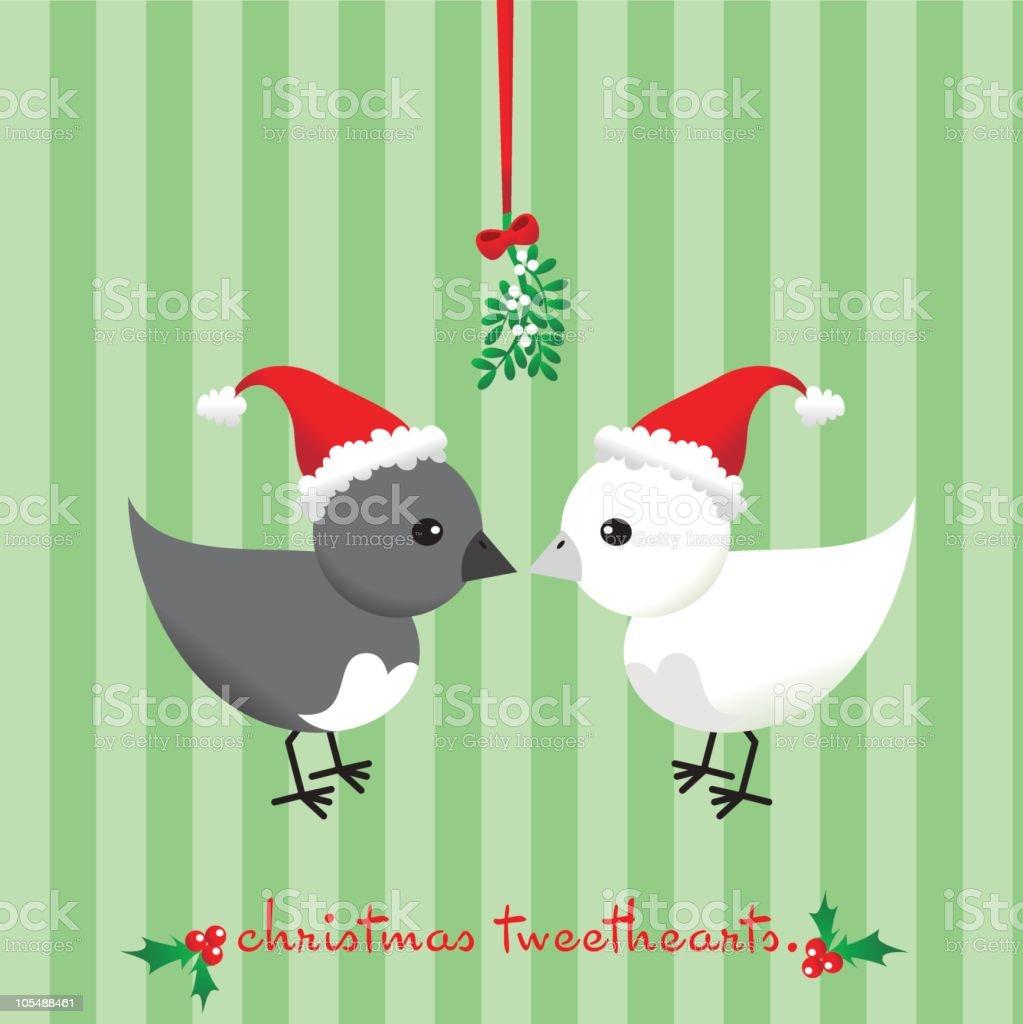 Christmas Tweethearts vector art illustration