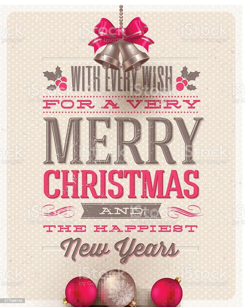 Christmas type design, holidays decoration and hand bells vector art illustration