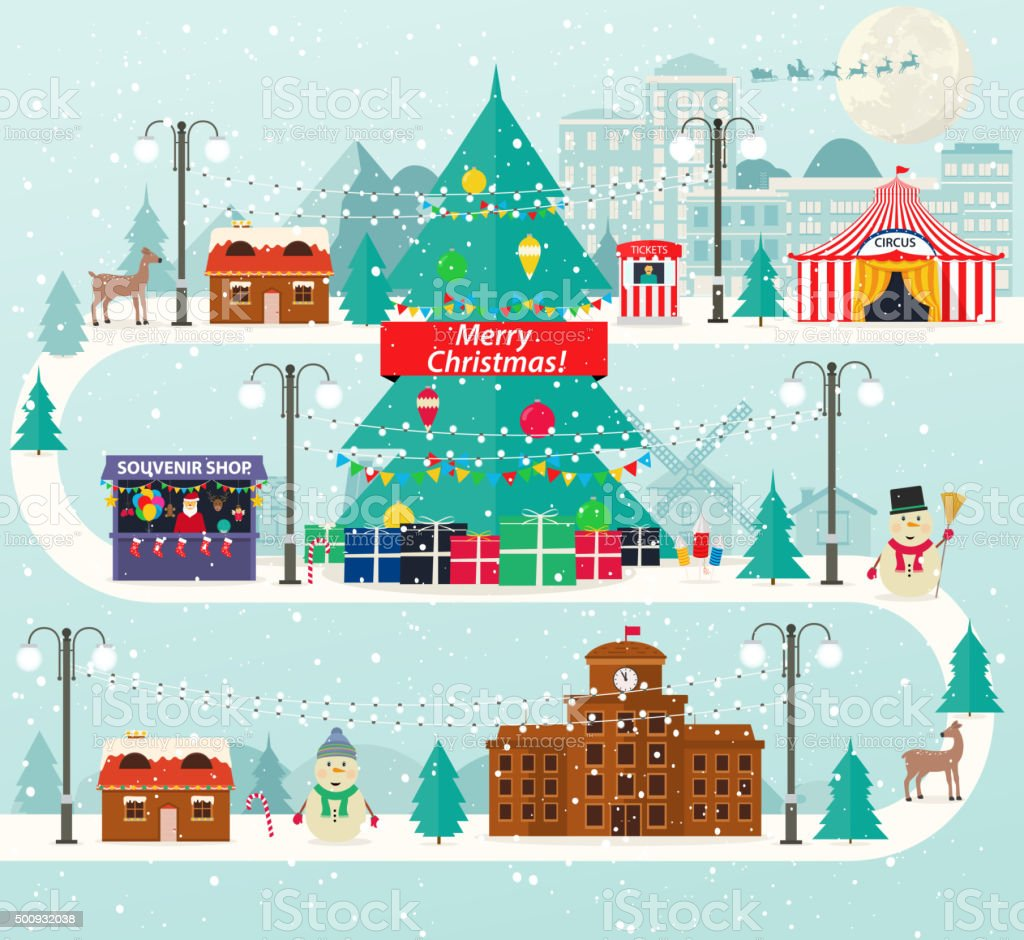 Christmas urban and rural landscape in flat design. vector art illustration